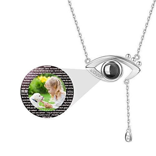 hjsadgasd Personalisierte Foto ich Liebe Dich Halskette 100 Sprache 925 Sterling Silber Rose Gold Projektion Evil Eye Halskette