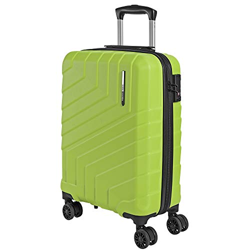 Valigia trolley da viaggio rigida - idonea ryanair e easyjet 55x40x20 cm - bagaglio a mano ultra leggero in abs con chiusura tsa e 4 ruote doppie girevoli - perletti travel (verde lime, s)