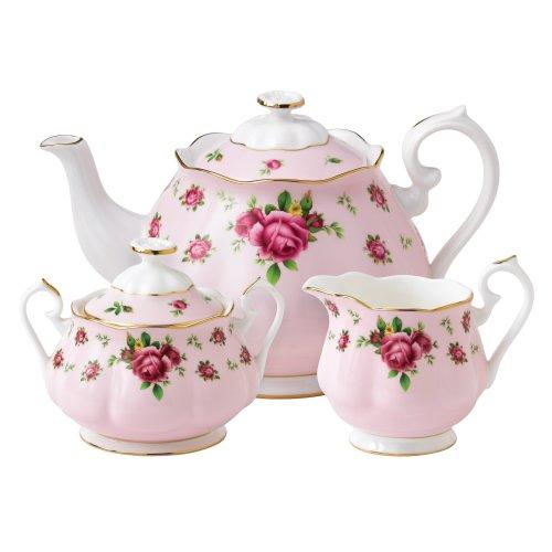 New Country Roses Pink by Royal Albert Teekanne/Zucker/cremefarben, 3-teiliges Set Royal Albert Bone China