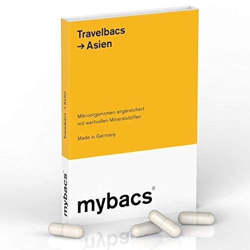 Travelbacs: Verdauung im Einklang auf Reisen in Asien | 11 spezifisch ausgewählte Bakterienkulturen [37.5 Milliarden KbEs] | 10 Kapseln | von mybacs