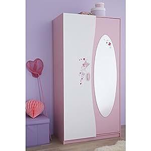 kleiderschrank rosa wei 2 t ren b 94 cm schrank. Black Bedroom Furniture Sets. Home Design Ideas
