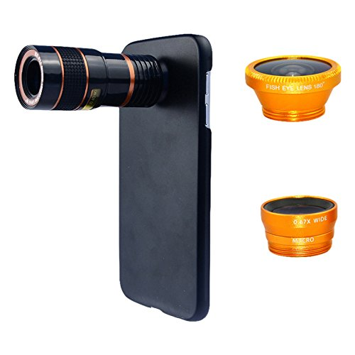 Apexel 4 In 1 Wide Angle Macro Lens + Fisheye Lens + 8X Telephoto Camera Lens Kit With Back Case Cover For Samsung Galaxy Note 5 Golden