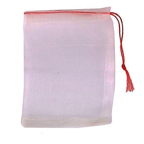 Jooks Sac filtre Maille de nylon Cordon de serrage en nylon Sac filtrant en maille filet Sac Cordon de serrage pour aquarium étang de jardin 10x 15cm 20pièces