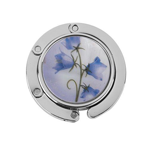 Accroche Sac Porte-sac Crochet à Table Pliant Support Rond Motif de Fleur Bleu