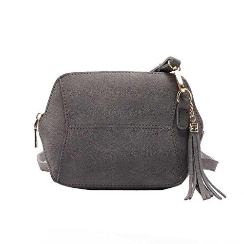 Mode Für Frauen Einfach Bereift Süßigkeit Farbe Quaste Tasche Umhängetasche Grey