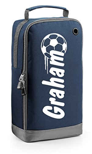 Personalised Football Boot Bag - Soccer Gift - Name in Ball Motif Navy