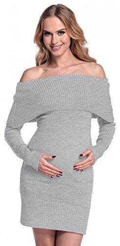 Happy Mama Femme Maternité robe de grossesse encolure Bardot. 909p Gris