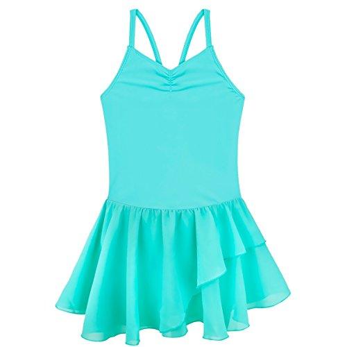 iEFiEL-Tutu Danza Danza Body costume, Bambino, Turquoise Sleeveless, 7-8 anni