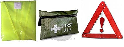 Auto/veicolo Safety emergency Essentials per tutti. Marchio CE. Triangolo di emergenza include Hi Vis gilet + + 42pz Kit di primo soccorso