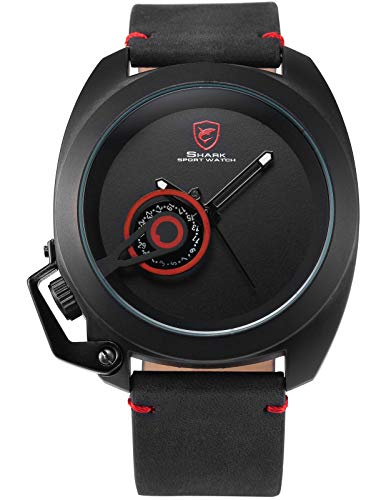 Shark Uhren Herren Analog XXL Armbanduhr Schwarz Pferdeleder Militär Sport SH446