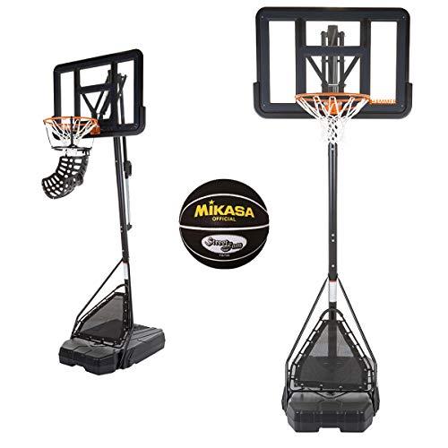 SLAM SHOT Hammer Pro Basketballanlage inkl. Basketballtrainer Ball Return, Rebound-Netz und Mikasa Basketball - 7-Fach Verstellbarer Basketballständer - Höhe bis zu 3,05 m - NBA-Backboard-Design
