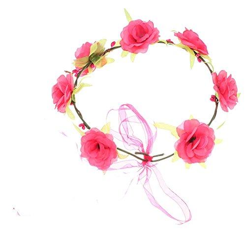 (Minetom Boheme geflochten Blumen Stirnband Kopfband Kranz von Rosen Braut Brautjungfer Haarschmuck Blumen Hairband Hochzeit ( #4 ))