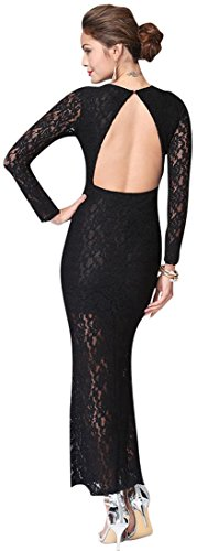 Jeansian Femmes Manches Longues Robe Fashion Sexy Lady Cocktail Party Lace Dress WHS068 Black
