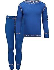 Kozi Kidz Vasa Base Layer - Conjunto térmico de ropa interior para niño, color azul, talla 90 cm