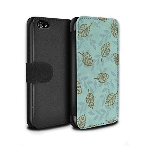Stuff4 Coque/Etui/Housse Cuir PU Case/Cover pour Apple iPhone 4/4S / Bleu/Marron Design / Motif Feuille/Branche Collection Bleu/Marron