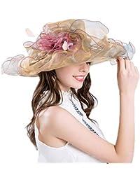 Crystallly Gorros Mujeres Verano Iglesia Sol Sombrero para El Kentucky  Derby Estilo Simple Ancho Ancho Plumas 290c65d5517