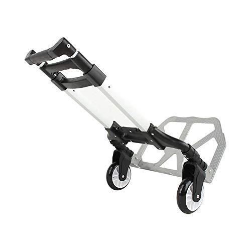 Carrito de Equipaje Plegable Asa Extensible Carretillas de Mano Carretilla de Rueda de Transporte de Aleación de Aluminio Carga Máxima 80kg