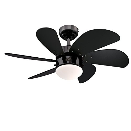 Westinghouse 7871140 Ventilatore da Soffitto Turbo Swirl, Finitura in Bronzo Duro, Pale in Nero