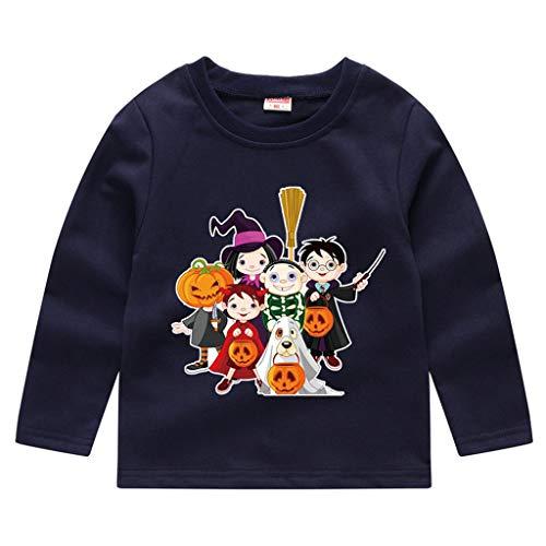 Romantic Kinder Baby Jungen Halloween Kostüme Lange Ärmel Bat/Kürbis/Brief Gedruckt T-Shirt Schickes Kürbis Kostüm Top Sweatshirts für Karneval Party Halloween Fest (Marine 5, 100)
