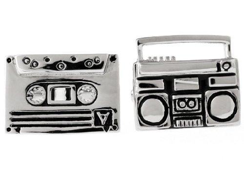 MRCUFF Boom Box und-Kassette Tape DJ Paar Manschettenknöpfe in Einer Geschenkbox und Reinigungstuch