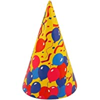 Pack 72 Cone Birthday Party Hats Colourful Balloon Design