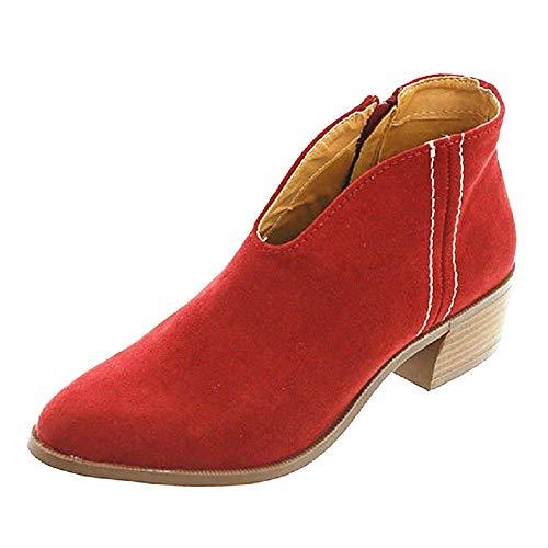 Western-leder-schuhe (Sandalen Damen mit Absatz Leder 4 cm Blockabsatz Wildleder Geschlossene Schuhe Reissverschluss Sommer Frühling Rot 41)