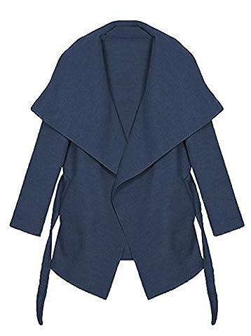 Kendindza Damen Mantel Trenchcoat mit Gürtel Lang Kurz dünner Stoffgürtel S M L XL (M, Navyblau kurz)