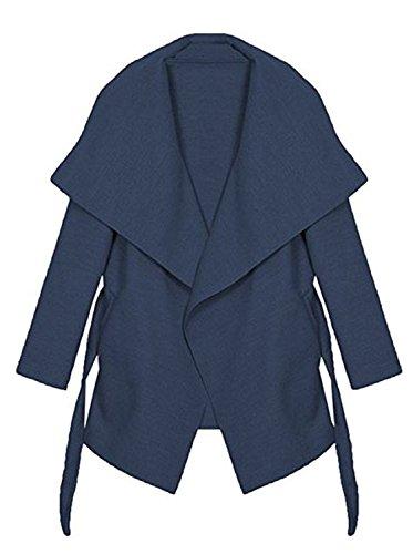 Kendindza Damen Mantel Trenchcoat mit Gürtel Lang Kurz dünner Stoffgürtel S M L XL (L, Navyblau kurz)