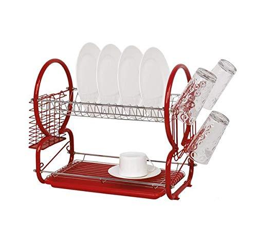 Escurridor de platos de dos niveles de acero inoxidable con escurridor de cubiertos y rejilla de vidrio - Rojo