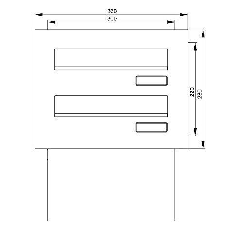 Max Knobloch Edelstahl Mauerdurchwurf-Briefkastenanlage MD20-OR-E (2 x 12 Liter) - 2