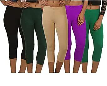 Fablab Casual Capri for Girls_Women_Ladies_ Solid Color_Above Knee Length (Capri_CLS_190-5-7BBrBePuG,Free Size,BlackBrownBeigePurpleGreen)