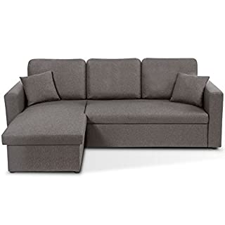 IDMarket - Canapé d'angle Convertible Emma avec Coffre de Rangement Gris