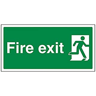 vsafety 140092-er ay-r Final Fire Exit Man rechts Zeichen, 1mm starrer Kunststoff, Landschaft, 300mm x 150mm, grün