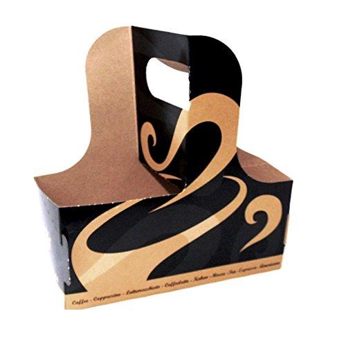 Becherträger Coffee to go Becher Hartpapier Golden Cups Tray für Kaffeebecher 100 Stück -