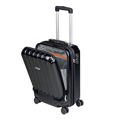 Kabinenkoffer Fach für Laptop 16'' Handgepäck, leichter Trolley, robust und widerstandsfähig 4 Doppelrollen um 360° drehbar, TSA-Schloss Sulema (Schwarz)