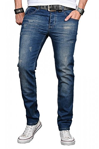 A. Salvarini Herren Designer Jeans Hose Stretch Basic Jeanshose Regular Slim [AS045 - W32 L30], Deep Blue Used