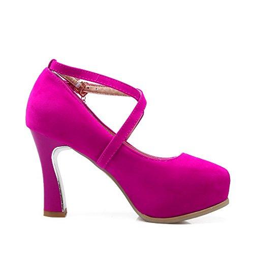 VogueZone009 Femme à Talon Haut Dépolissement Boucle Rond Chaussures Légeres Rose Tendre