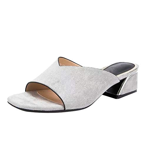 Sandaletten für Damen/Dorical Frauen High Heels Sandalen Plateau Offen Pantoffeln Outdoor Slipper mit 5 cm Absatz Casual Sommer Abend Schuhe Flandell 35-41EU(Grau,41 EU)