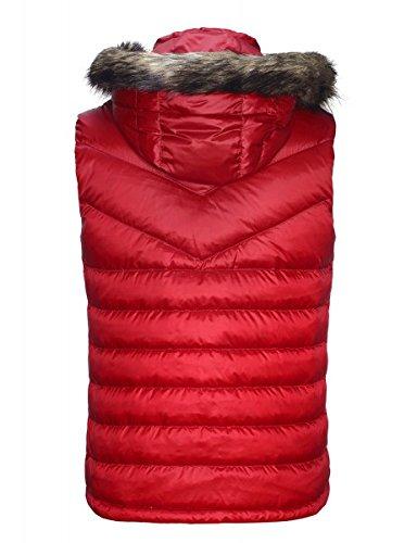 Jeff Green piumino smanicato con colletto pelliccia Rosso