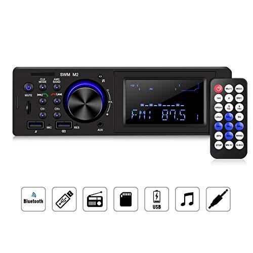 homeasy 1Din Autoradio Bluetooth mit Freisprecheinrichtung FM Tuner Auto Midea Player Digitale Stereoanlage Autoradio USB mit AUX/TF Audioeingang und 3,5mm Audiokabel - Band Fm Bluetooth