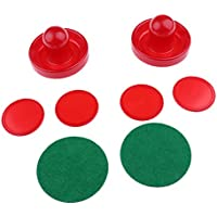 MagiDeal 2pcs Empujadores de Hockey Sobre Hielo +4pcs Cuatro Discos Accesorio de Hockey del Aire - Rojo, S