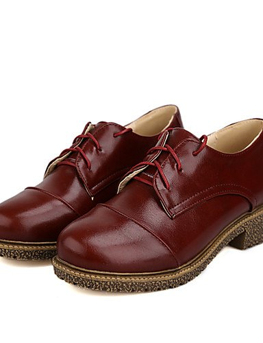 ZQ Scarpe Donna-Stringate-Formale / Casual-Punta arrotondata-Basso-Finta pelle-Nero / Marrone / Rosa / Beige / Borgogna , burgundy-us9 / eu40 / uk7 / cn41 , burgundy-us9 / eu40 / uk7 / cn41 brown-us5 / eu35 / uk3 / cn34