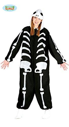 Halloween Kostüm Pyjama Skelett Onesie für Damen Herren Halloweenkostüm Gr. M/L, Größe:L (Eine Schwangere Skelett Halloween-kostüm)