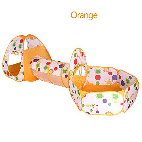 XBR Kinderzelt tragbares Pop-UP Prinzessin Tunnelzelt Kinderzelt Spielzelt für Baby 3 in 1 Spielplatz mit Basketball Box Tunnel und Zelte, Orange
