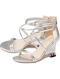 a7605e4348 GAOLIXIA Sandalias de Cuero para Mujer de Las Señoras Cuñas de Diamantes de  Imitación de Verano