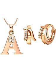 """AnaZoz Joyería de Moda Simple Personalidad Chapado en Oro Rosa Juegos de Joyas Para Mujer (Collar Pendiente Juegos de Joyas) Letra """"A"""" Colgante Blanco Cristal CZ"""
