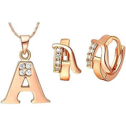 AnaZoz Joyería de Moda Simple Personalidad Chapado en Oro Rosa Juegos de Joyas Para Mujer (Collar Pendiente Juegos de Joyas) Letra