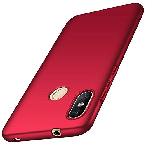 AOBOK Xiaomi Mi Caso Lite A2, caso Xiaomi redmi 6 Pro, Ultra Caindo Caso protetor Matte superfície fina para Xiaomi Mi A2 Lite, Pro Smartphone Xiaomi redmi 6, Vermelho