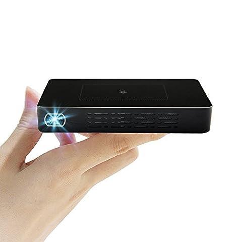 VIGICA D09 Mini Smart Home DLP Projecteur de poche à écran tactile Fonctionnement 2.4G / 5G Wifi 1080p Vidéoprojecteur LED Portable Projecteur 120inches Android 4.4 HD 32GB Pico Projecteur pour Home Entertainment, Party and Games,