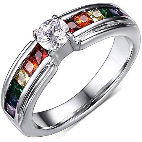 LianDuo Acciaio inossidabile Gay Lesbiche LGBT zirconi Arcobaleno Orgoglio Band Ring matrimonio per l'impegno di
